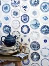 Blue Porcelain Plates wallpaper by Studio Ditte