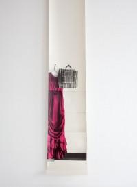 Trompe l'oeil wallpaper dress 'Tatanaka' by Deborah Bowness