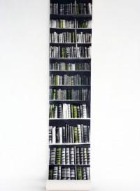 'New Antique Bookshelves' trompe l'oeil wallpaper by Deborah Bowness.
