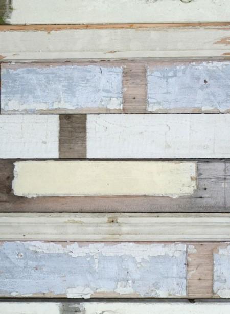 White 'Scrapwood' wallpaper by Studio Ditte