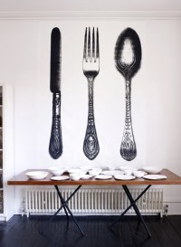 Wallpaper panels with life, fork and spoon by Tracy Kendall