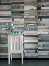 Blue 'Scrapwood' wallpaper by Studio Ditte