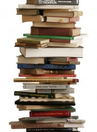 Book stacks wallpaper by Tracy Kendall