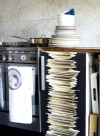 Plate stacks wallpaper by Tracy Kendall