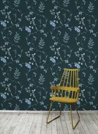 Papier peint Dutch Garden couleur bleu sarcelle de Little Owl