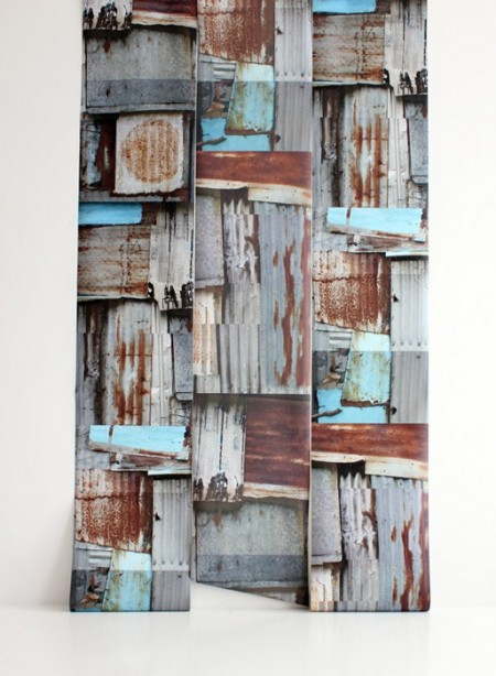 Papier peint trompe l'oeil Corrugated wall par Deborah Bowness