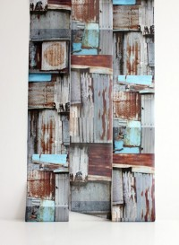 Corrugated wallpaper by Deborah Bowness