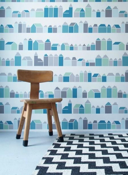 Papier peint Maisons bleues par Inke