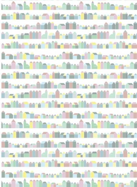 Papier peint Maisons pastel par Inke