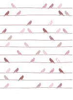 Papier peint Oiseaux roses sur fils par Inke