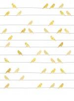 Papier peint Oiseaux jaunes sur fils par Inke