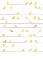 Wallpaper Yellow Birds on wires by Inke