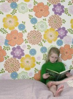 Vintage multicoloured flowers wallpaper by Inke
