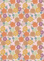 Papier peint Fleurs vintage fond rose par Inke