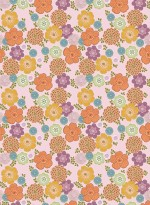 Vintage flowers pink background wallpaper by Inke