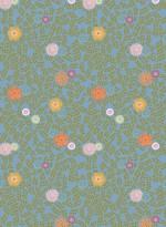 Papier peint Feuillage vintage fond bleu par Inke
