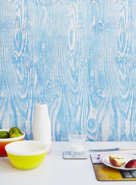 Woodgrain blue wallpaper by Ella Doran