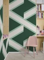 Papier peint géométrique Overscale Accent Curve racing green