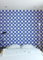 Papier peint géométrique Palladian Loop bleu