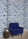 Aves embroidered wallpaper blue