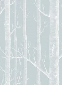 Papier peint Woods blanc sur gris bleu