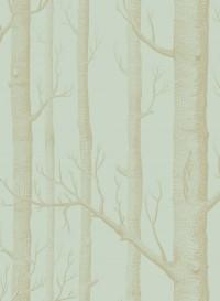 Papier peint Woods doré sur bleu vert