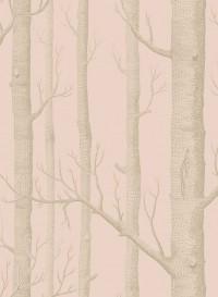Papier peint Woods argent sur rose