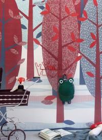 Papier peint Forêt rouge/blue par Inke