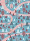 Papier peint balade en forêt rouge/bleu par Inke