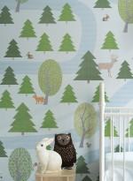 Forest wallpaper green/blue by Inke