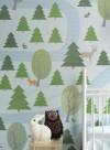 Papier peint balade en forêt vert/bleu par Inke