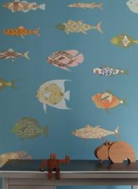 Papier peint poissons sur fond bleu par Inke