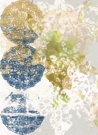 Lace-Rose indigo transitional wallpaper by Lene Toni Kjeld