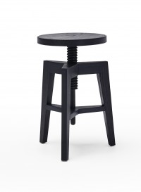 Screw bench bar stool in black stained ash designed by Mint