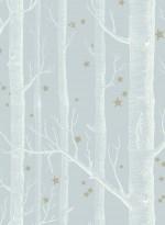 Papier peint Woods and Stars blanc sur gris bleu