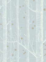 Woods and stars wallpaper white and grey/blue