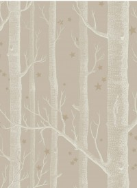 Woods and Stars wallpaper white and beige