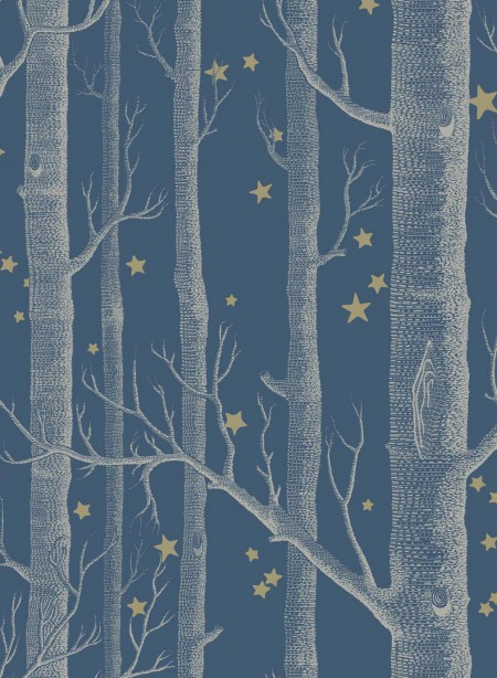 Woods and stars wallpaper dark blue background by Cole and Son