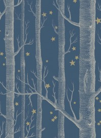 Papier peint Woods and Stars blanc sur bleu foncé par Cole and Son