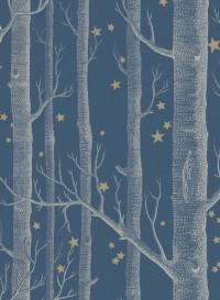 Woods and Stars wallpaper white and dark blue