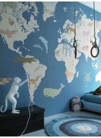 Papier peint XL carte du monde beige sur bleu