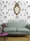 Perched birds grey wallpaper by Louise Body