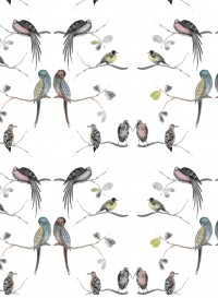 Perched birds cream wallpaper by Louise Body