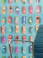 Gridlock cars blue wallpaper by Ella Doran