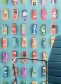 Gridlock cars blue wallpaper by Ella Doran