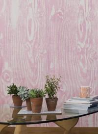 Woodgrain pink trompe l'oeil wallpaper