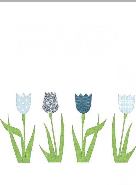 Tulipe bleu décor mural en papier peint vintage