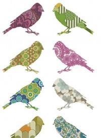 Set de deux oiseaux en papier peint vintage