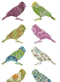 Set of two birds in vintage wallpaper Inke