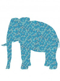 Eléphant en papier peint vintage Inke
